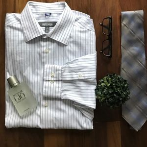 Kenneth Cole white with blue stripes dress shirt